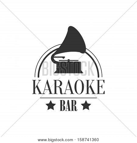 Vintage Music Player Karaoke Premium Quality Bar Club Monochrome Promotion Retro Sign Vector Design Template. Black And White Illustration With Music Related Objects Silhouettes With Text.
