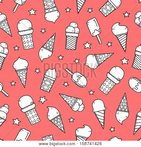 Tasty ice creams seamless pattern. Hand drawing color sketch vector illustration.