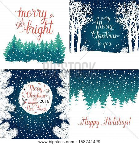 Merry and Bright Christmas Happy Holidays Happy New Year greeting cards set. Vector winter holidays backgrounds with hand lettering calligraphic christmas tree branches snowflakes falling snow.