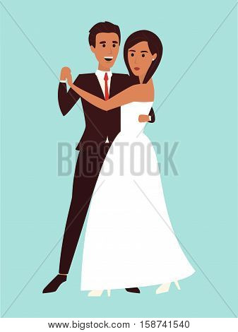 Wedding bridal dance. Couple dancing in white dress and suit, wedding invitation. Flat design vector illustration.