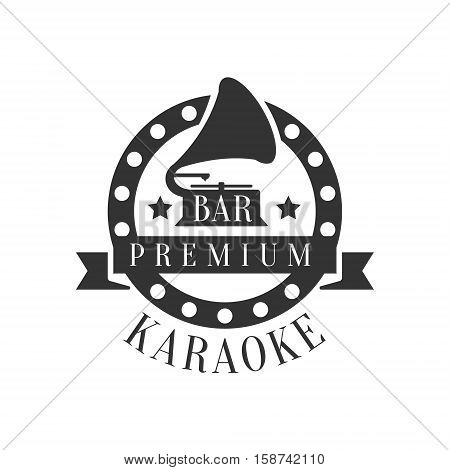 Gramophone In Round Frame Karaoke Premium Quality Bar Club Monochrome Promotion Retro Sign Vector Design Template. Black And White Illustration With Music Related Objects Silhouettes With Text.