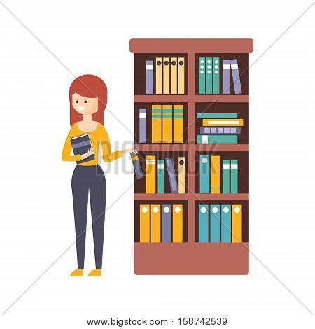 Library Or Bookstore With Young Woman Choosing A Book To Read. Flat Primitive Vector Illustration With Colorful Human Characters In Bookshop Interiors.