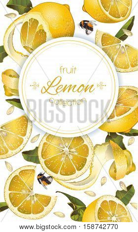 Vector lemon vertical banner. Design for juice, tea, ice cream, lemonade, jam, natural cosmetics, sweets and pastries filled with lemon, dessert menu, health care products. With place for text