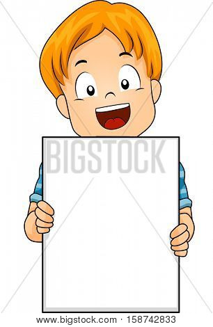 Illustration of a Cute Little Caucasian Boy Flashing a Wide Smile While Holding a Blank Board