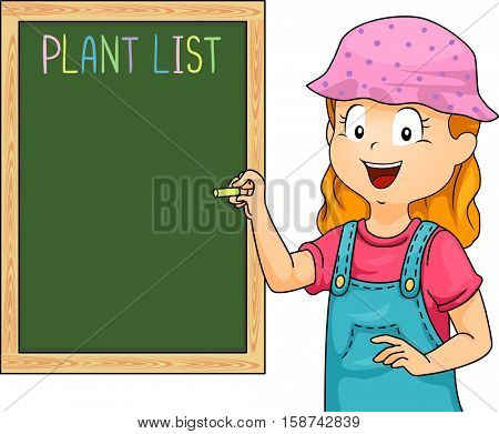 Illustration of a Little Girl in Blue Overalls Writing Down a List of Plants in Her Garden