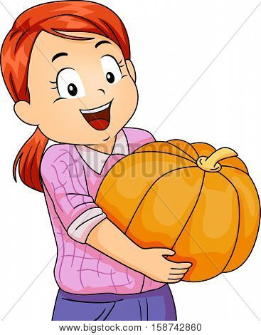 Illustration of a Cute Little Girl Carrying a Large Pumpkin with a Huge Smile on Her Face