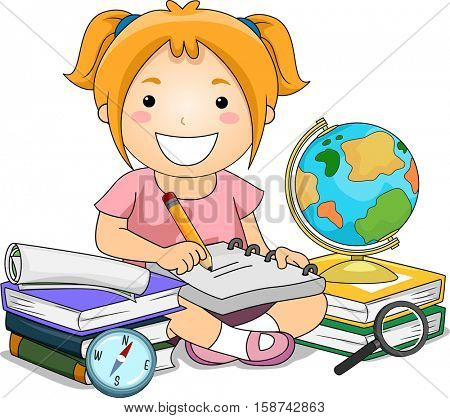 Illustration of a Little Girl Surrounded by Books, Maps, and a Globe Taking Notes Down