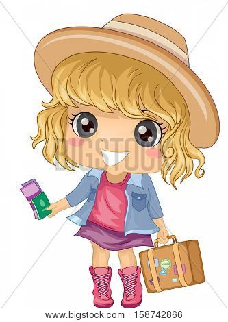 Illustration of a Cute Little Girl in a Wide Brimmed Hat Carrying a Suitcase in One Hand and Holding Travel Documents in the Other