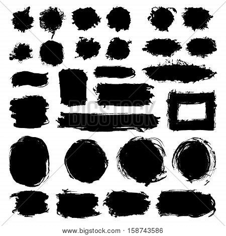 Mega collection of Hand drawn abstract black paint brush strokes. Vector set collection of shapes frames isolated on white background. Round oval circle rectangle border elements for design.