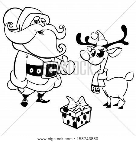 Outlined Laughing Santa Claus reindeer and gift box. Christmas characters