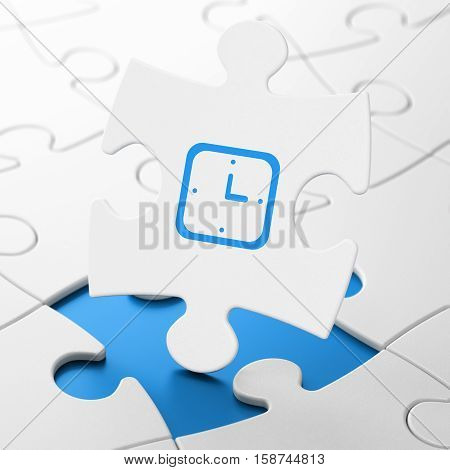 Time concept: Watch on White puzzle pieces background, 3D rendering