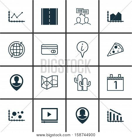 Set Of 16 Universal Editable Icons. Can Be Used For Web, Mobile And App Design. Includes Icons Such As Fail Graph, Employee Location, Info Pointer And More.