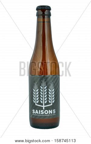 NETHERLANDS - LEIDSCHENDAM - MEDIA OCTOBER 2015: Saison beer bottle from Saison brewery in Wallonia in Belgium.