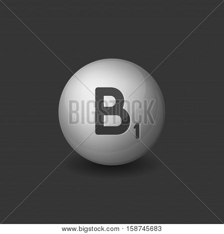 Vitamin B1 Silver Glossy Sphere Icon on Dark Background. Vector illustration