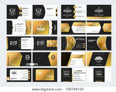 Set Of Elegant Double-sided Business Card Templates With Logotype Elements. Black And Gold Colors. V