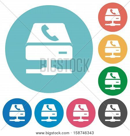 VoIP services white flat icons on color rounded square backgrounds