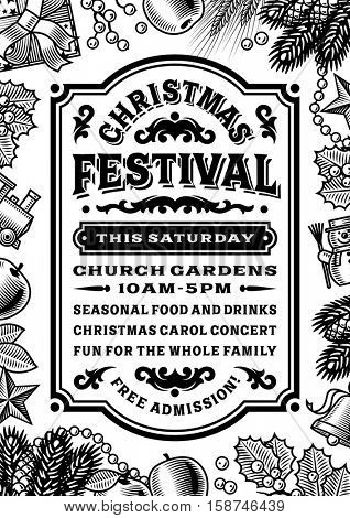 Vintage Christmas Festival Poster Black And White. Editable vector illustration in retro woodcut style with clipping mask.