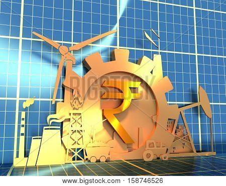 Energy and Power icons set on blueprint backdrop. Sustainable energy generation and heavy industry. 3D rendering. Golden material. Rupee sign