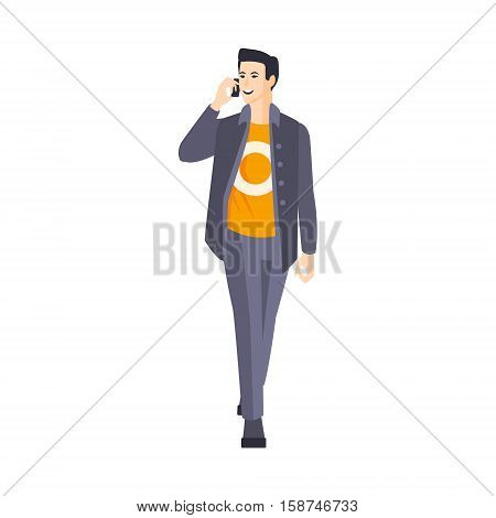 Guy In Jacket And Orange T-Shirt Speaking On The Phone Part Of The Collection Of Young Professional People Office Style And Street Fashion Looks. Smiling Confident Person In Trendy Modern Clothing Flat Vector Illustration.