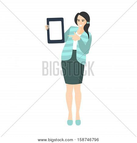 Girl In Turquoise Jacket And Skirt Doing Presentation WIth Tablet Part Of The Collection Of Young Professional People Office Style And Street Fashion Looks. Smiling Confident Person In Trendy Modern Clothing Flat Vector Illustration.