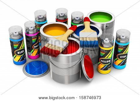 Creative abstract 3D render illustration of cans with color paint paintbrushes and spray paints isolated on white background