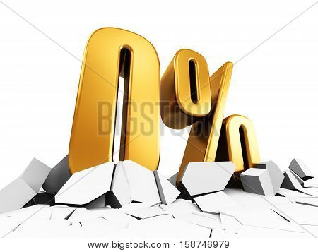 3D render illustration of golden zero or 0 percent price cut off text on cracked surface isolated on white background