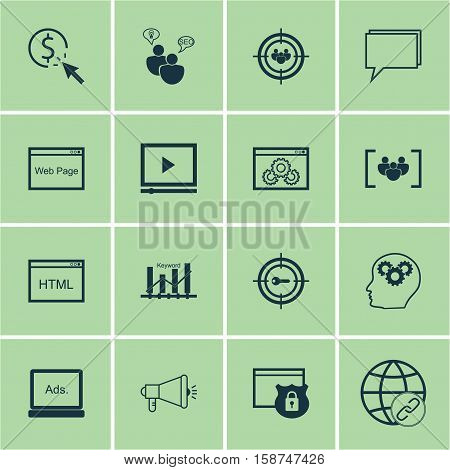 Set Of Marketing Icons On Digital Media, Focus Group And Media Campaign Topics. Editable Vector Illustration. Includes Focus, Web, Pay And More Vector Icons.