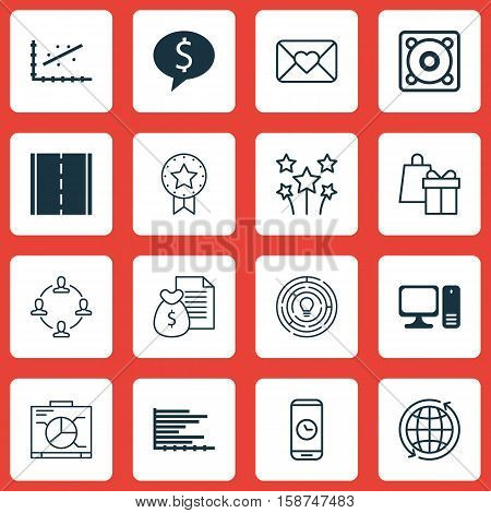 Set Of 16 Universal Editable Icons. Can Be Used For Web, Mobile And App Design. Includes Icons Such As Desktop Computer, Collaboration, Present Badge And More.