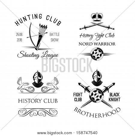 History Club logo. Fight Club emblem. Hunting club badge. Warrior Decorations Set. Vector Illustration