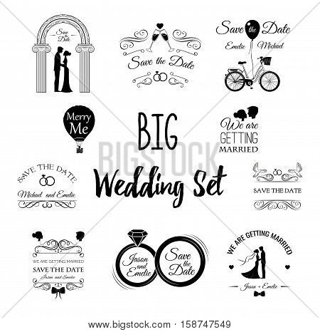 Wedding set Dress, couple, ring, invitation, bride, card, heart, groom, couple silhuette, glasses of champagne Invitation template Filigree divider scroll frame Vintage decoration Vector Illustration
