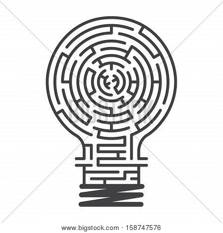 the maze in light bulb maze idea game labyrinth entry and exit vector illustration