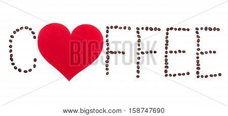 Coffeebeans text with red heart on white background