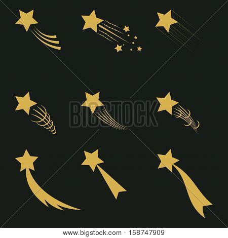 Falling gold  stars vector set Icons of meteorites and comets - vector