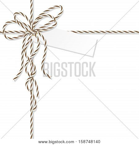 Abstract white background with tag label tied up with brown rope bakers twine bow and ribbons