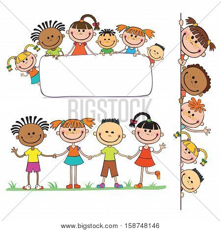 illustration of kids peeping behind placard children together vector