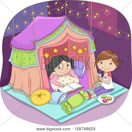 Illustration of Cute Little Girls Sleeping in a Fancy Tent Surrounded by Fairy Lights
