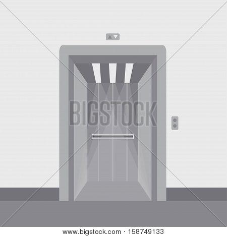 Open elevator doors modern metal realistic empty hall interior with waiting lift grey floor ceiling and walls vector