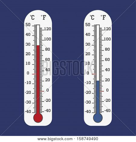 Thermometer icon Vector Celsius and Fahrenheit measuring hot and cold temperature