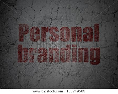 Marketing concept: Red Personal Branding on grunge textured concrete wall background
