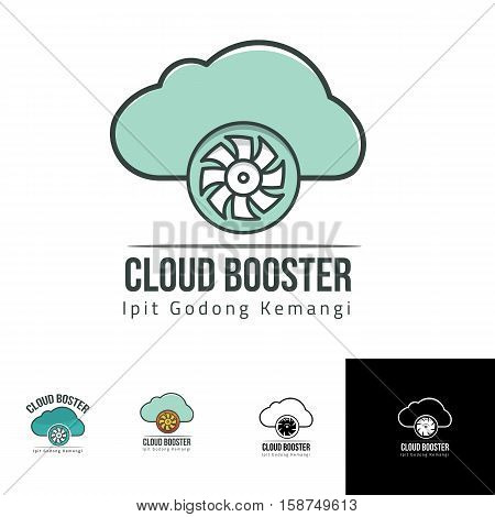 cloud booster wheel fan cycle logo design for onilne storage, booster apps, fast delivery or any others