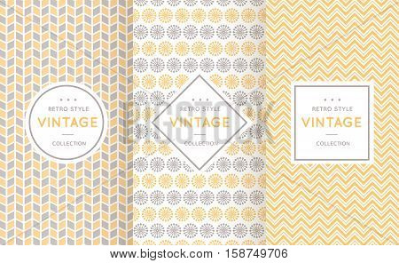 Soft different vector seamless patterns. Endless texture for wallpaper, fill, web page background, texture. Set of delicate geometric ornament. Yellow, grey and white shabby colors