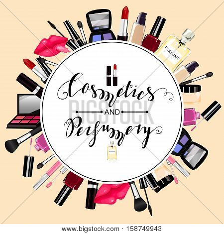 Makeup, Perfume, Cosmetics Seamless Pattern.