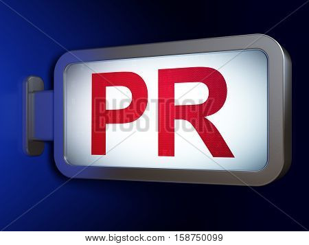 Marketing concept: PR on advertising billboard background, 3D rendering