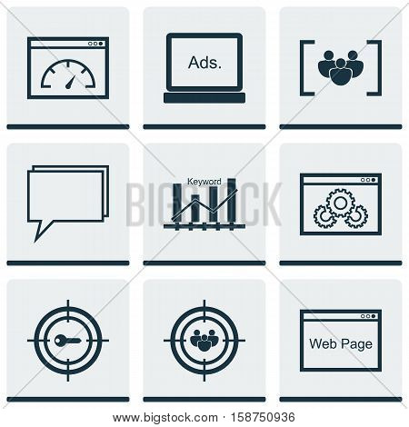 Set Of Marketing Icons On Loading Speed, Keyword Marketing And Website Topics. Editable Vector Illustration. Includes Keyword, Browser, Conference And More Vector Icons.