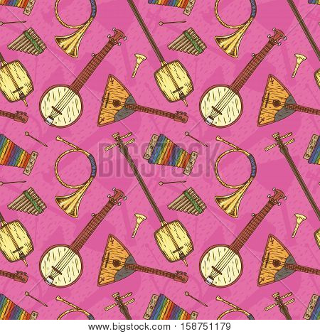 Seamless Vector with Folk Musical Instruments on a Pink Background