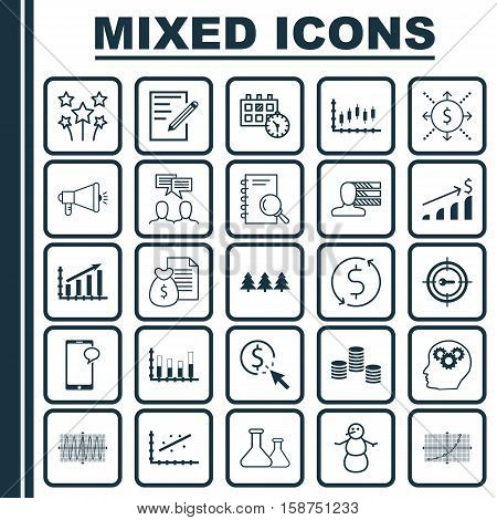 Set Of 25 Universal Editable Icons. Can Be Used For Web, Mobile And App Design. Includes Icons Such As Media Campaign, PPC, Segmented Bar Graph And More.