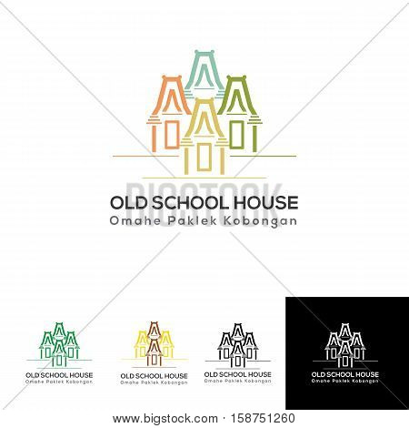 oldschool houses logo for traditional resort with nature pleasure and family