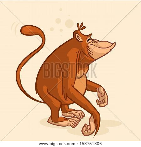 Cheeky orangutan monkey character. Vector mascot cartoon