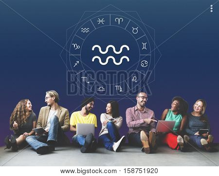 Aquarius Horoscope Fortune Zodiac Prediction Graphic Concept