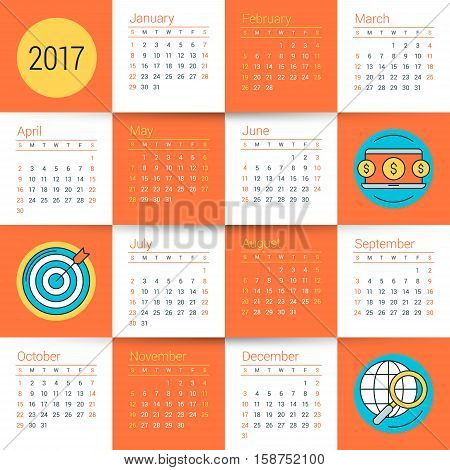 Calendar For 2017 Year. Vector Design Stationery Template With Business Concept Icons. Week Starts S